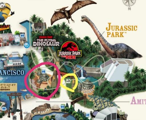 ジュラシックパークのエリアマップ